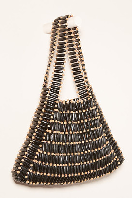 Anthropologie Bamboo Beaded Tote Bag By in Black Size ALL
