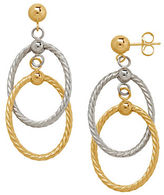 Lord & Taylor 14K Yellow and White Gold Oval Drop Earrings