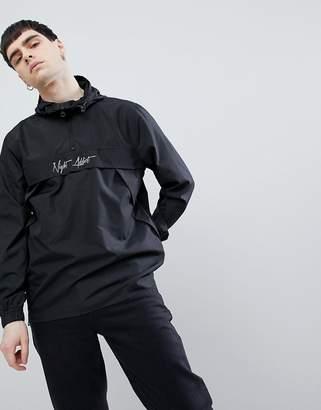 Night Addict Pullover Reflective Logo Windbreaker Jacket-Black