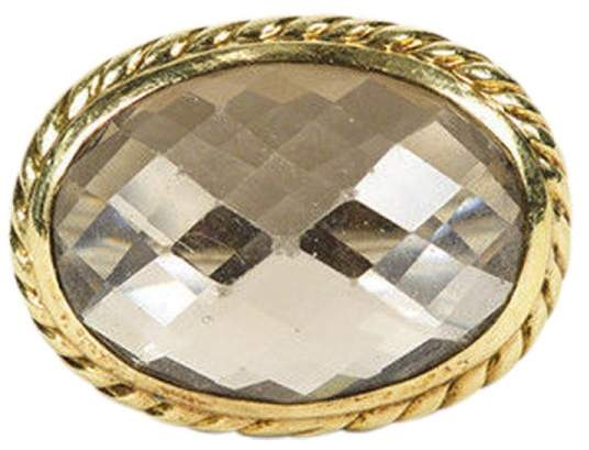 David Yurman Sterling Silver & 18K Yellow Gold with Smoky Quartz Cocktail Ring Size 5