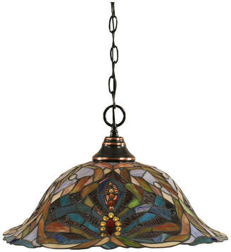 "Toltec Lighting Chain Hung Pendant In Black Copper, 19"" Kaleidoscope Tiffany Glass"