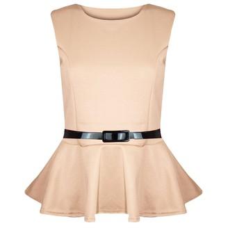 Fashion Star Women No Sleeve Belted Peplum Skater Mini Dress Stone Plus Size (UK 24/26)