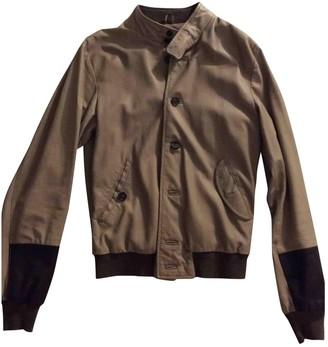 Dacute Beige Leather Jackets