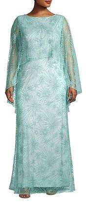 Tadashi Shoji Plus Embroidered Lace Cape Gown