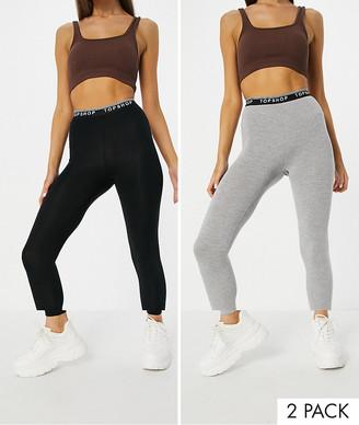 Topshop 2 pack leggings in black & grey