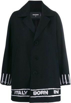 DSQUARED2 Logo-Tape Single-Breasted Coat