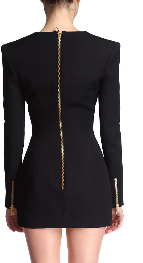 Thumbnail for your product : Balmain Button-Front Wool Mini Dress