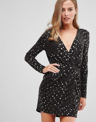 Flounce London wrap front mini dress with statement shoulder in black with gold sequin in black/gold