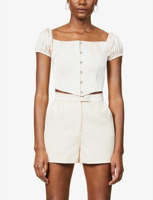 Lavish Alice Tailored high-rise crepe shorts