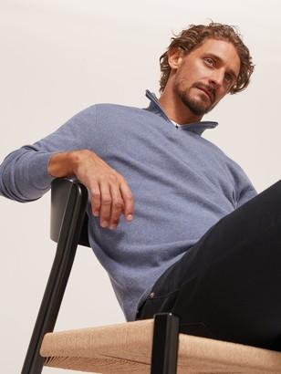 John Lewis & Partners Cotton Cashmere Half Zip Neck Jumper