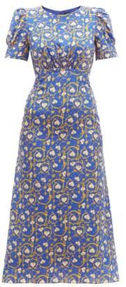 Saloni Bianca Printed Silk-crepe Dress - Womens - Blue Print
