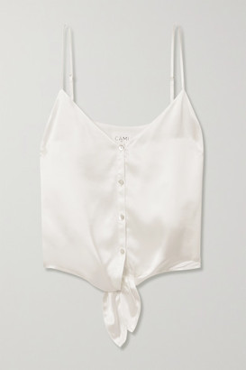 CAMI NYC The Julie Cropped Tie-front Silk-charmeuse Camisole - White