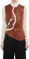 Esteban Cortazar Women's Cutout Leather Top-BROWN
