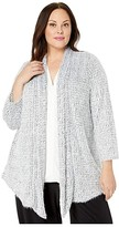 Vince Camuto Specialty Size Plus Size Drapey Front Eyelash Houndtooth Cardigan (Rich Black) Women's Clothing