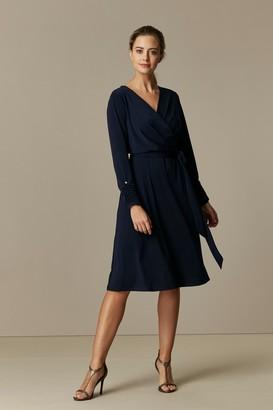 Wallis PETITE Navy Belted Jersey Wrap Midi Dress