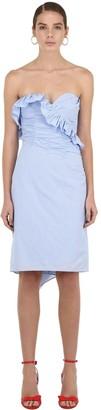 ALEXACHUNG Alexa Chung Strapless Ruched Cotton Mini Dress