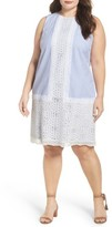 London Times Plus Size Women's Lace Overlay Shift Dress