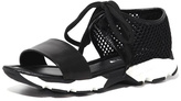 All Black Banded Mesh Sandal