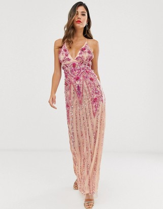 A Star is Born embellished prom maxi dress in pink