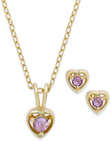Macy's Children's 18k Gold over Sterling Silver Necklace and Earrings Set, February Birthstone Amethyst Heart Pendant and Stud Earrings Set (1/5 ct. t.w.)