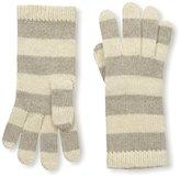 Portolano Women's Striped Cashmere Gloves, Beige/Nile Brown