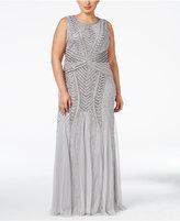 Adrianna Papell Plus Size Chrevron-Beaded Mermaid Gown