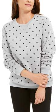Karen Scott Petite Printed Fleece Sweatshirt, Created for Macy's