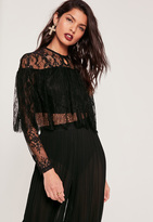 Missguided Lace Double Layer Crop Top Black