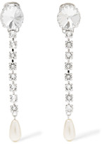 Miu Miu Silver-plated, Swarovski Crystal And Faux Pearl Clip Earrings - one size