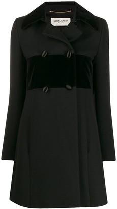 Saint Laurent Pre Owned velvet trim coat