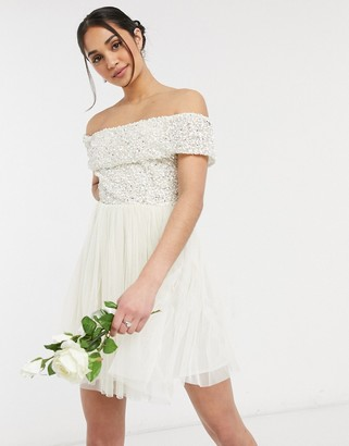 Maya Bridal off shoulder mini tulle dress with tonal delicate sequin in ecru