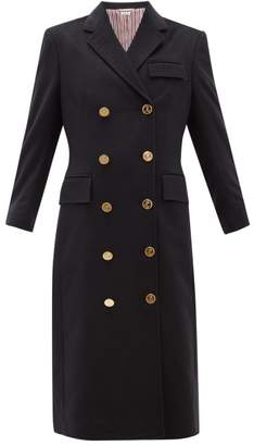Thom Browne Double Breasted Tricolour Trim Cashmere Coat - Womens - Navy