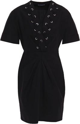Sandro Clara Lace-up Cotton And Linen-blend Mini Dress