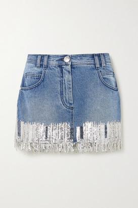 Balmain Fringed Sequined Denim Mini Skirt - Blue