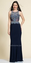 Dave and Johnny Open Back Beaded Scroll Evening Dress