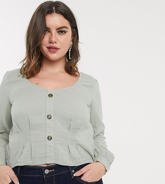 Vero Moda Curve linen top with volume sleeves in sage