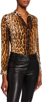 L'Agence Nina Leopard Silk Long-Sleeve Button-Down Blouse