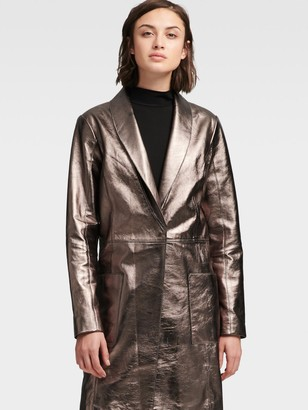 DKNY Metallic Leather Trench Coat