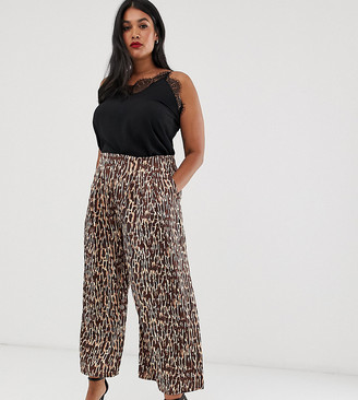 Unique21 Hero tonal brown abstract animal pleated pants
