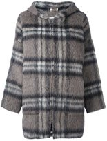 P.A.R.O.S.H. checked hooded zipped coat - women - Polyamide/Polyester/Mohair/Virgin Wool - XS