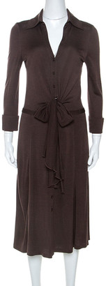 Diane von Furstenberg Brown Jersey Tie Waist Eli Shirt Dress M