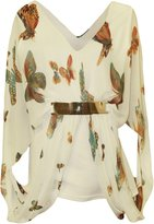 Cima Mode's Plus Size Women Celeb chiffon butterfly Print Buckle Belt Top size 14-20