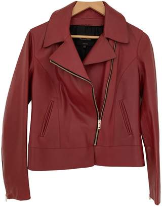 Massimo Dutti Red Leather Jacket for Women
