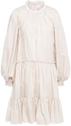 3.1 Phillip Lim Gathered Striped Cotton-blend Poplin Mini Dress
