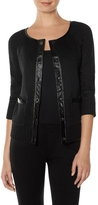 The Limited Faux Leather Trim Sweater Jacket