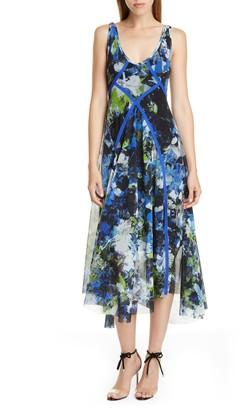 Fuzzi Floral Print Asymmetrical Midi Dress