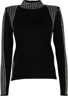 Wallis PETITE Black High Neck Embellished Jumper
