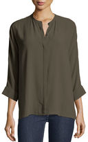 Eileen Fisher Mandarin-Collar 3/4-Sleeve Georgette Blouse