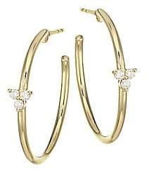 Ef Collection Women's Diamond Trio & 14K Yellow Gold Essential Hoop Earrings