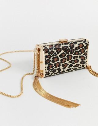 Asos Design DESIGN leopard box clutch with tassel detail-Black